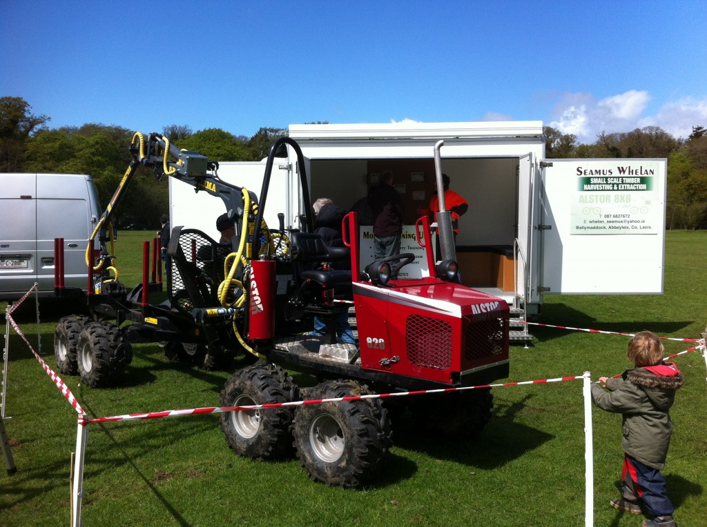 Seamus Whelan exhibiting his Mobile Training Unit and Mini Forwarder at the Forestry Expo at Stradbally Estate in Laois.